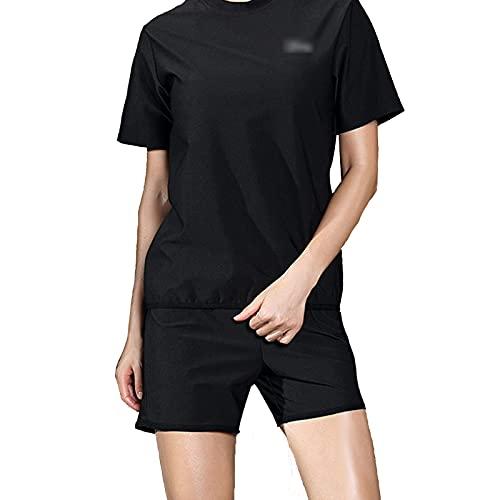 Ropa de Sauna de Verano Conjunto de 2 Piezas, Camisas de Manga Corta y Pantalones Cortos, Conjunto de Sudadera (Color : Black, Size : XXL)