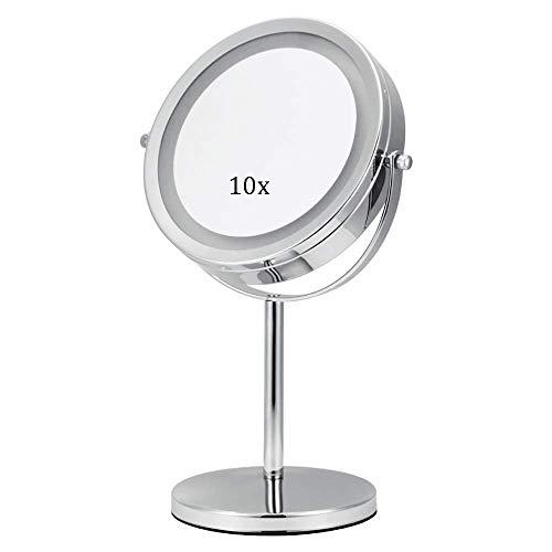 DJYD FDWFN Espejo de maquillaje iluminado compacto LED 10 anillos de luz espejo 360 grados; giratorio para espejo de baño