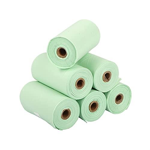 PPKZY Bolso de Caca de Perro Biodegradable |Bolsas de residuos de Perro compostables |Libre de plástico, Cornarch Pla basado en PLA (Color : 6 Rolls 90pcs)