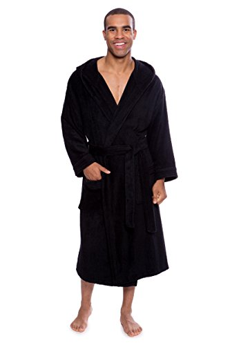 Texere Men's Luxury Terry Cloth Bathrobe (EcoComfort, Caviar, LXL) Plush Robe