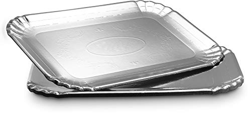 Plasticpro Board Serving Trays - Serving Platters Rectangle 9X13 Disposable Party Dish Silver 4 Silver