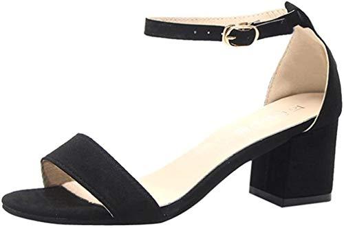 Zapatos de tacón Altas Ancho para Mujer Verano 2018 PAOLIAN Fiesta Zapatos de Plataforma de Boca de Pescado Moda Cuña Sandalias de Vestir con Hebilla Tira de Tobillo Clásicos Boda (34, Negro)