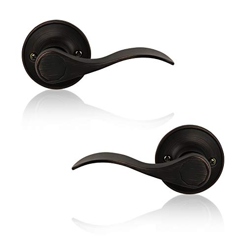 4 Pack Dummy Door Lever Wave Style Leverset Door Handles Right and Left Handed Oil Rubbed Bronze Finish by Probrico