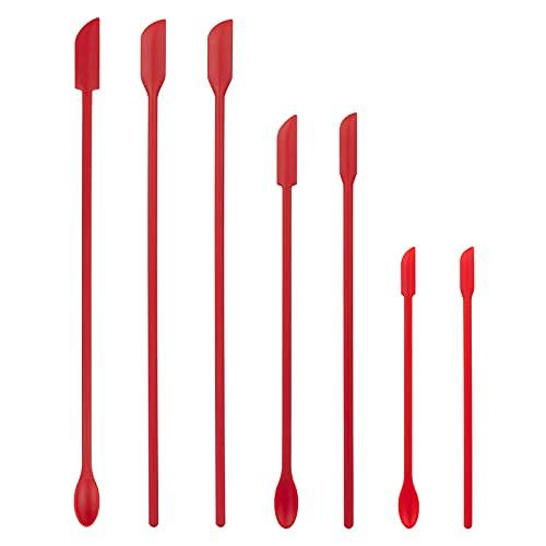 GoldOars 7 Pezzi spatola Silicone Set, Piccola spatola in Silicone Mini Barattolo Raschietto cucchiai Silicone, Spatola L'Ultima Goccia, Mini Spatola per Cosmetici da Cucina e Ketchup (Rosso)