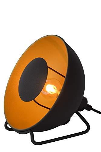 Lucide ALVARO tafellamp, staal, 25 W, zwart, mat goud