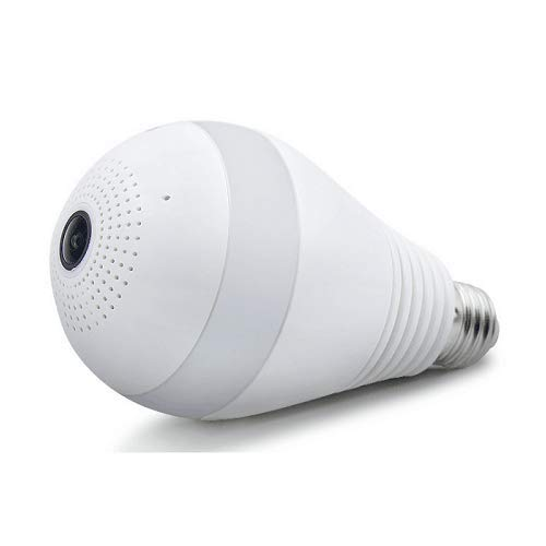 Teconica VQ-883 Smart Cam Bulb Shaped Fisheye 360 Degree Wireless Security CCTV Camera with Night Vision, 2 Way Communication, SD Card Supported & More