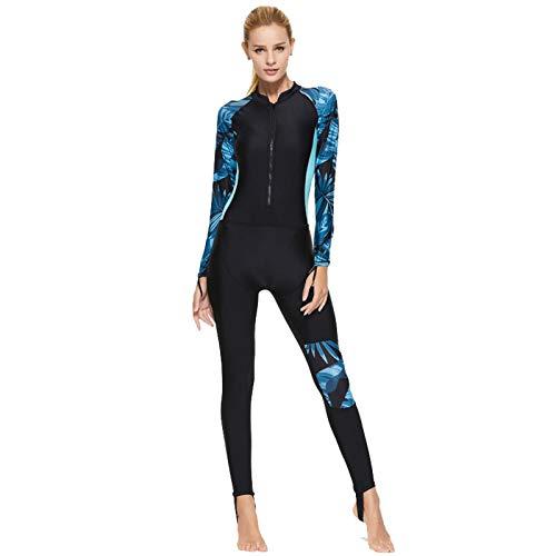 Neoprenanzug Damen mit Frontreißverschluss, Schnell Trockener Ganzkörper-Wintertauchanzüge Ultra-Stretch-Langarm-Thermo-Tauchanzug Wetsuits Water blue-M