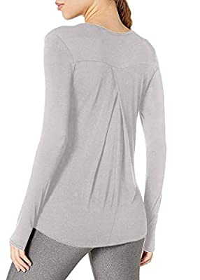 Bestisun Women's Long Sleeve Yoga Shirts Workout Tops for Women Activewear Exercise Clothing Muscle Gym Hiking Casual Basic Clothes with Thumb Holes for Women Gray M