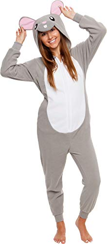 Silver Lilly Slim Fit Animal Pajamas - Adult One Piece Cosplay Mouse Costume (Grey, Large)