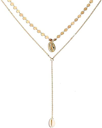 NC110 Collar Mariposa Collares Pendientes para Mujer Luna Charm Multicapa Gargantilla Collar Bohemia Joyería Colgante Collar Regalo para Mujeres YUAHJIGE