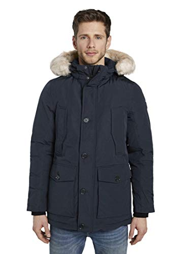 TOM TAILOR Herren Padded Winter Jacke, Blau (Sky Captain Blue 10668), Medium (Herstellergröße: M)