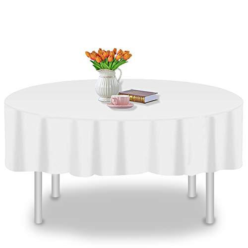 YANGTE 6Pcs Einweg Runden Tischdecke, Kunststoff Wasserdicht Tischtuch, Weiß Table Cloth für wasserdichte Tischdecke für Party, Geburtstag, Hochzeit (137x274cm)