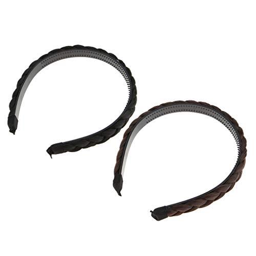 Hellery 2X Geflochtenes Brötchen Haarteil