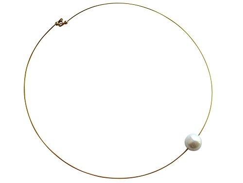 GEMSHINE Damenhalskette mit weißer Perle. 45 cm lange 925 silberne oder hochwertig vergoldete Perlenkette - Made in München/Germany - Im eleganten Schmucketui mit Geschenkverpackung geliefert.