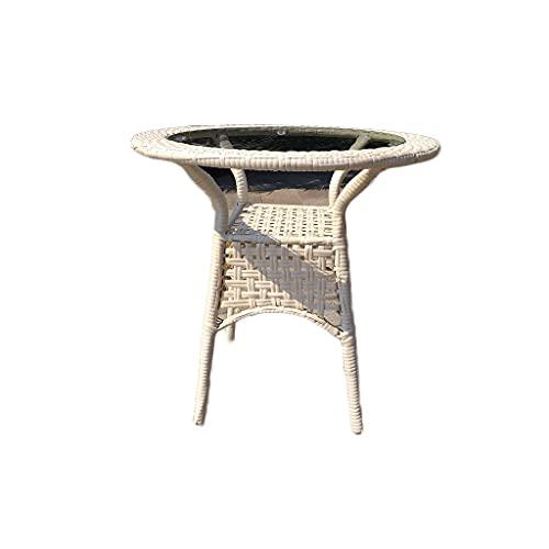 Mesa plegable portátil al aire libre Mesa de centro de ratán, mesa de centro de mesa de cristal, adecuado para cafetería Restaurante de ocio balcón villa jardín turístico al aire libre Mesas de campo
