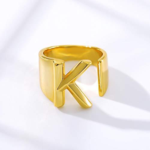 yqs Anillo abierto de moda ajustable abierto oro inicial anillos para mujeres anillo de acero inoxidable señoras significativo regalo de joyería de Navidad
