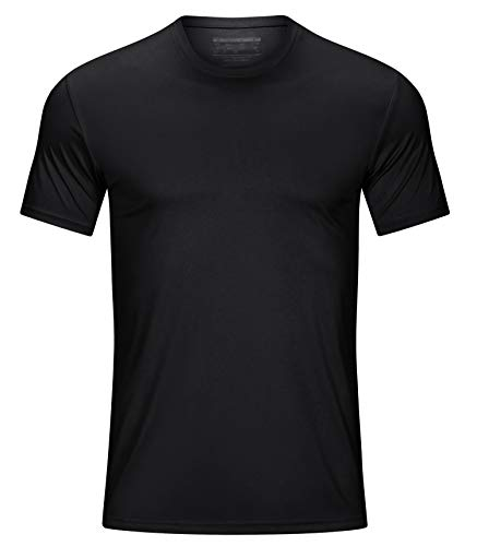 TACVASEN Men's Short Sleeve UPF 50+ UV Sun Protection Shirts Lightweight Outdoor Tee Shirt Black S