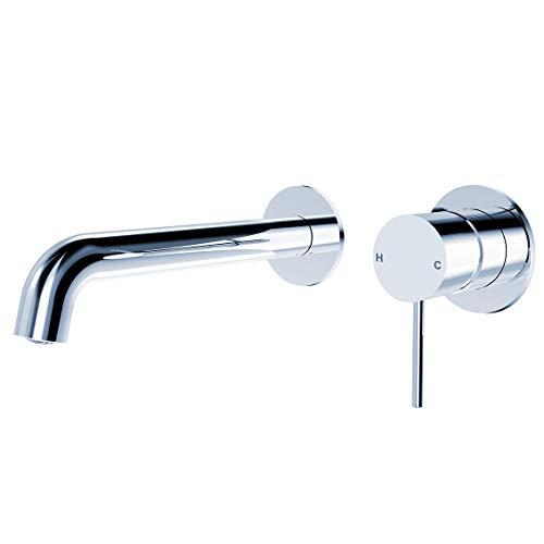 ZUKKI Copper Single-Handle Bathroom Fixtures Vanity Vessel Faucet, Wall Mounted Brass Bathtub Basin Mixer Taps Sink Mixer Tap Hot and Cold 2 Holes Spout Sink Rough Valve (2219-07C Chrome)