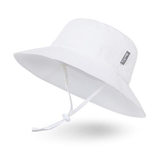 Sombrero de Sol para Bebé Niña Niño Infantil Niños Pequeños Unisexo Ajustable Sombrero Bob Protección Solar UPF 50-L:Blanco