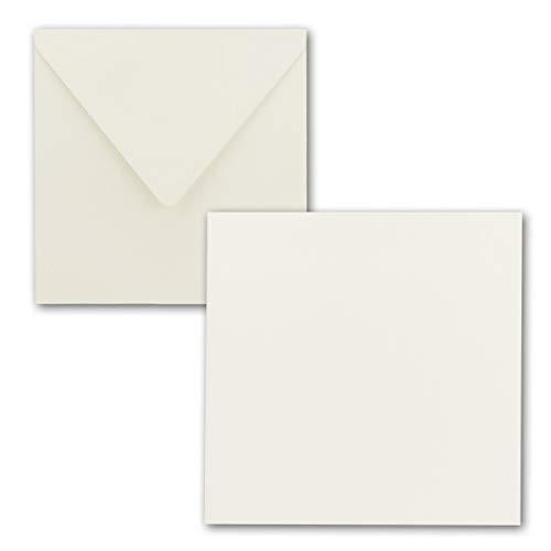Quadratisches Einzelkarten-Set - 15 x 15 cm - mit Brief-Umschlägen - Naturweiss - 25 Stück - für Grußkarten & mehr - FarbenFroh® by GUSTAV NEUSER®