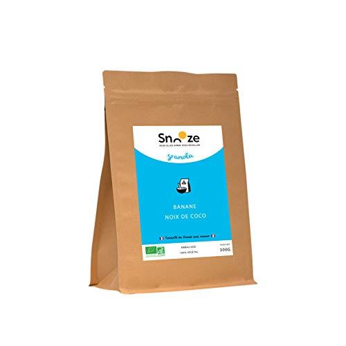 SNOOZE l Céréales Granola l BIO l Banane Noix de Coco l Fabrication Française l Sans Sucres Ajoutés (300 g)