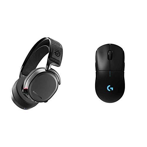 SteelSeries Arctis Pro Wireless - Auriculares de Juego inalámbricos (2,4 G y Bluetooth), Negro + Logitech G Pro Ratón Gaming Inalámbrico, Sensor Hero 16K, 16,000 dpi, RGB, Peso Reducido