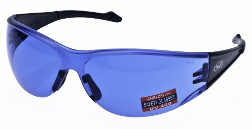 Full Throttle Motorcycle Wrap Around Safety Glasses Various Lens Colors Basic Lens Color: Blue Lenses