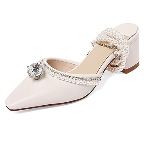 KJHKT Zapatos de tacón con Punta Puntiaguda y Tira Trasera para Mujer...