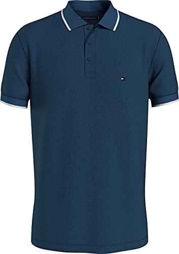 Tommy Hilfiger Basic Tipped Regular Polo Camisa, Lago Místico, XXL para Hombre