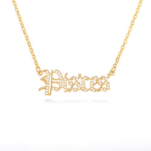 Zircon Letter Constellation Necklace For Women Stainless Steel Zodiac Necklaces Choker Alphabet Jewelry