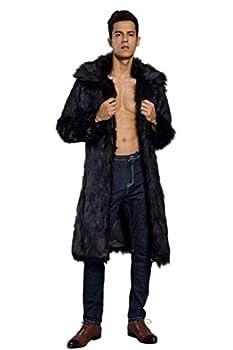Old DIrd Men s Long Sleeve Fluffy Faux Fur Warm Coat Outerwear N02 Black XXL