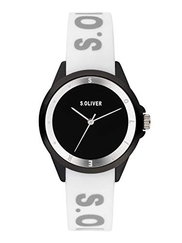 s.Oliver Damen Analog Quarz Uhr mit Silikon Armband SO-3845-PQ