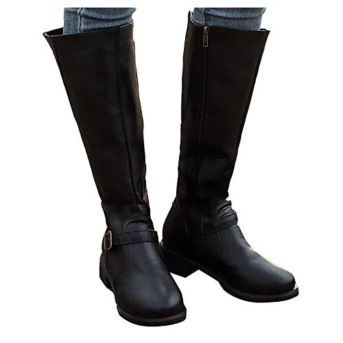 Dasongff Bottes Mollets Larges Femme Boots Equitation Femme Boot Equitation Bottes de Chevalier Chic et Élégant Santiags à Talons Bas Botte Cavalières Confort Femmes Cavalière Bottes de Neige