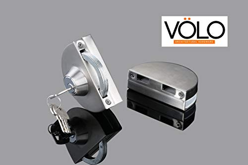 Volo Premium Heavy Duty Stainless Steel Glass to Glass Door Lock with 3 Computer Keys.