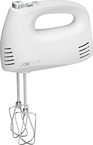 Clatronic Mix Handmixer HM 3524, Set mit Mixstab, Edelstahlquirle & -knethaken, 5 Geschwindigkeitsstufen, Zubehörteile spülmaschinengeeignet, 300 Watt, weiß