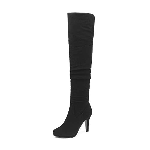 DREAM PAIRS Women's Black Nubuck Thigh High Chunky Heel Platform Over The Knee Boots Size 7.5 M US Sarah-hi