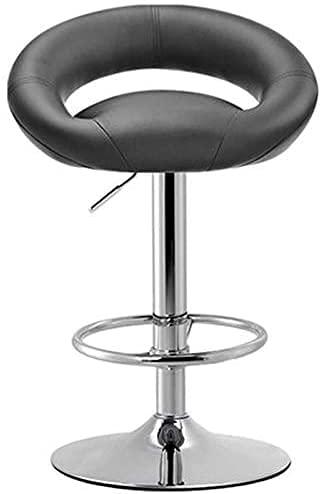 JPL Bar, cafetería, silla de restaurante, elegante silla de desayuno, trona, suave con respaldo Altura ajustable de cuero artificial Taburete alto Base de acero cromado, sillón Bar Office Rest