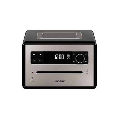 sonoro QUBO Design CD-Player (FM/DAB+, CD, AUX-in, Bluetooth, Meditationsinhalte, Wecker) Schwarz