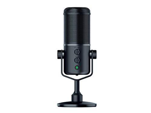Razer Seiren Elite - Microphone à Condensateur USB Pour la Diffusion en Continu, Microphone à Streamer Compact avec Amortisseur Intégré et Motif d'Enregistrement Supercardio