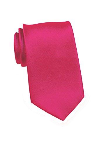 PUCCINI schmale Krawatte│6cm skinny slim Tie/Hochzeitskrawatte/Plastron/Schlips │ uni/einfarbig: Magenta/Rot