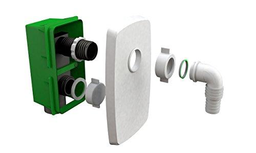 Bonomini Compact – Sifón empotrable para lavadora o lavavajillas, abrazadera para desagüe de lavadora y juntas, blanco