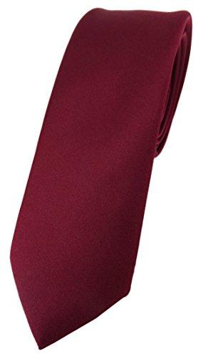 TigerTie schmale Designer Krawatte in bordeaux einfarbig Uni - Tie Schlips