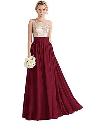 Clothfun One Shoulder Sequin Rose Gold Bridesmaid Dresses Long 2021 Chiffon Formal Dresses for Women Burgundy 24 Plus Size