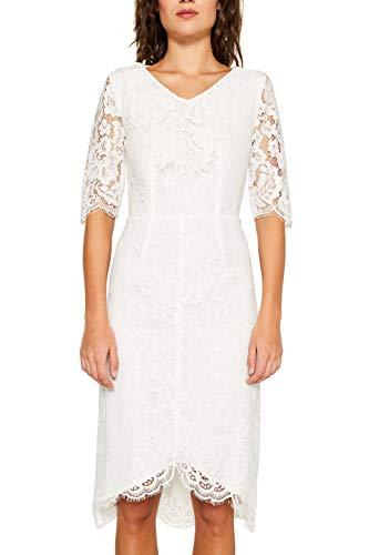 ESPRIT Collection Damen 039EO1E022 Kleid, Weiß (Off White 110), (Herstellergröße: 38)
