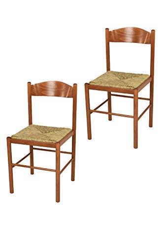 Tommychairs - Set 2 sedie Classiche Pisa 38 per Cucina, Bar e Sala da Pranzo, con Robusta Struttura in Legno di faggio Verniciato Color ciliegio e Seduta in Paglia Vera