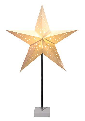 Papierstern Leuchte auf Fuß 60x45 cm - Weihnachtsstern Tischlampe Deko Stern beleuchtet Tischleuchte