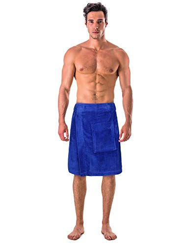 Turkish Cotton Terry Velour Adjustable Body Wrap Towel for Men (Royal Blue, One Size)