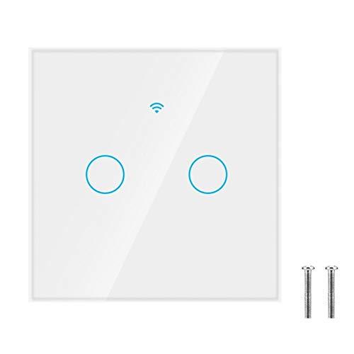 Interruptor de pantalla táctil con interruptor inteligente a prueba de agua para Alexa Google 2-Way AC 100-250V(white, European regulations)