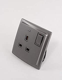 Double pole socket outlet Mallia - switched - 1 gang - 13 A 250 V - dark silver