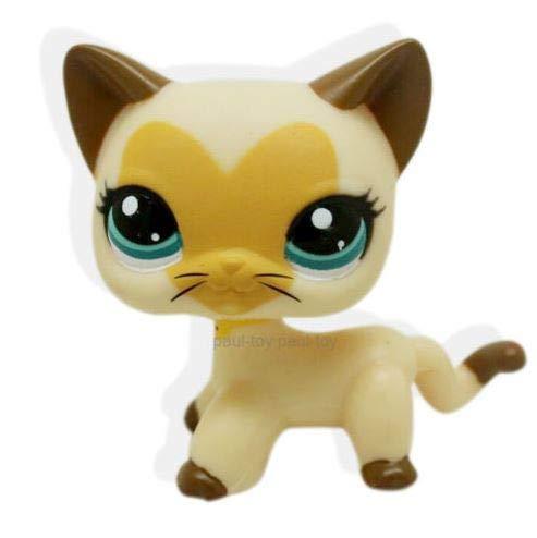 Rare Littlest Pet Shop Cream Tan Brown Short Hair Cat Heart Face Kitty LPS #3573
